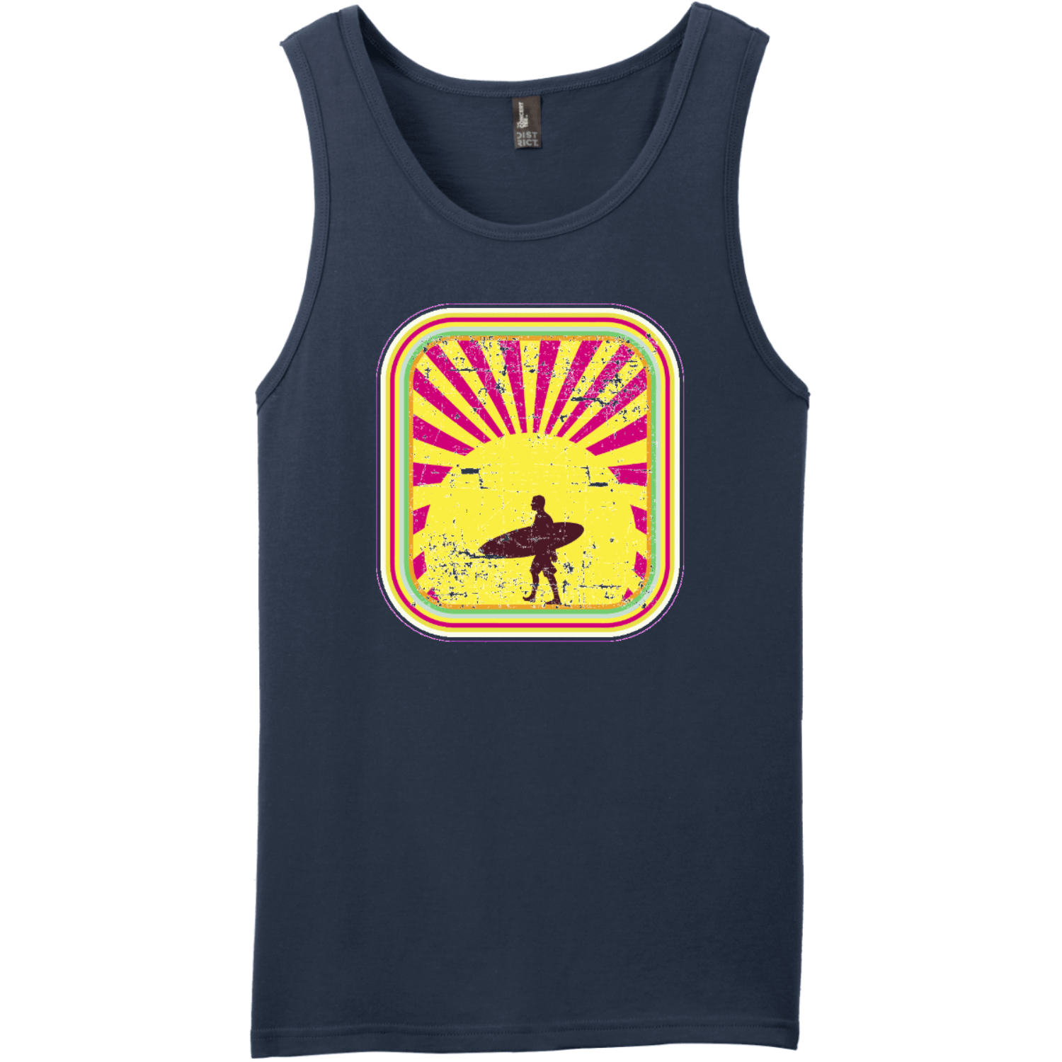 Surfer In The Retro Sunset Tank Top New Navy District Concert Tank Top DT5300