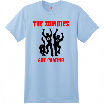 The Zombies Are Coming T Shirt Light Blue Hanes Nano 4980 Ringspun Cotton T Shirt