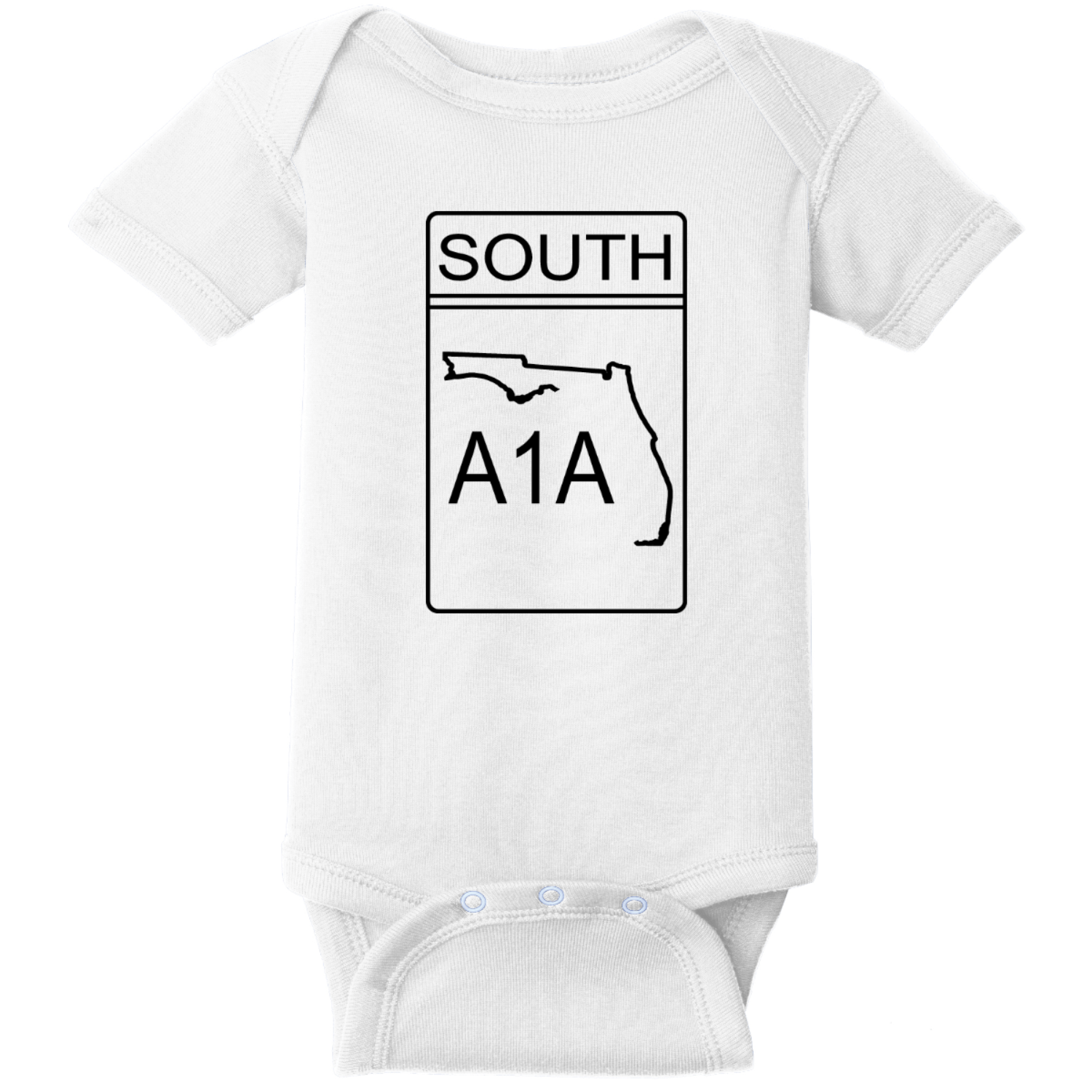 A1A South Road Sign Baby Creeper White Rabbit Skins Infant Short Sleeve Infant Rib Bodysuit RS4400