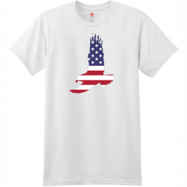 American Flag Eagle T Shirt White Hanes Nano 4980 Ringspun Cotton T Shirt