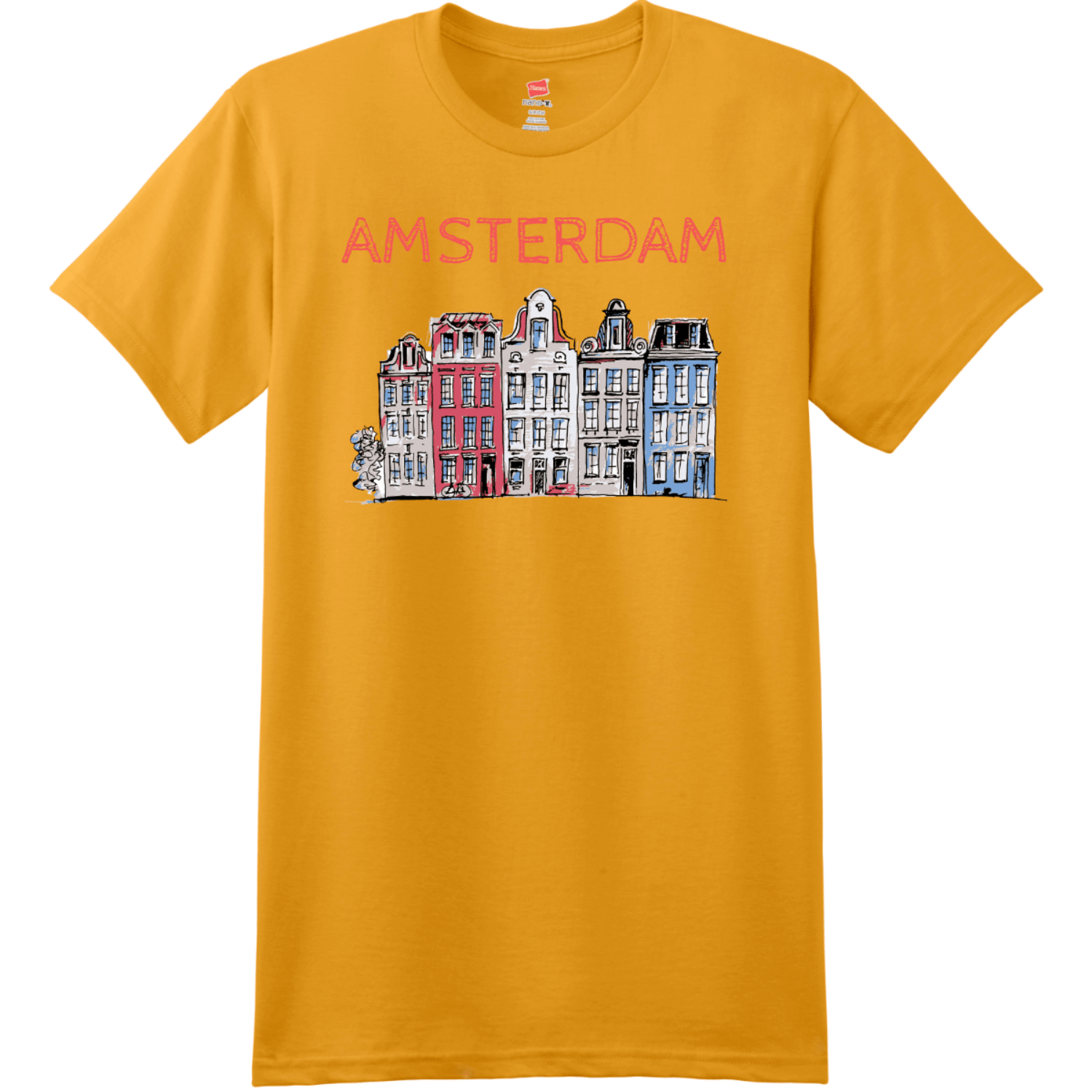 Amsterdam Holland Leaning Houses T Shirt Gold Hanes Nano 4980 Ringspun Cotton T Shirt