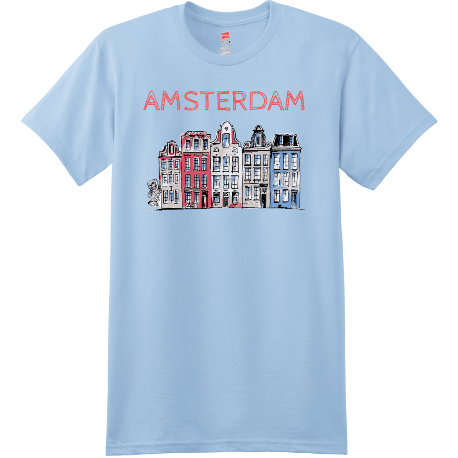 Amsterdam Holland Leaning Houses T Shirt Light Blue Hanes Nano 4980 Ringspun Cotton T Shirt