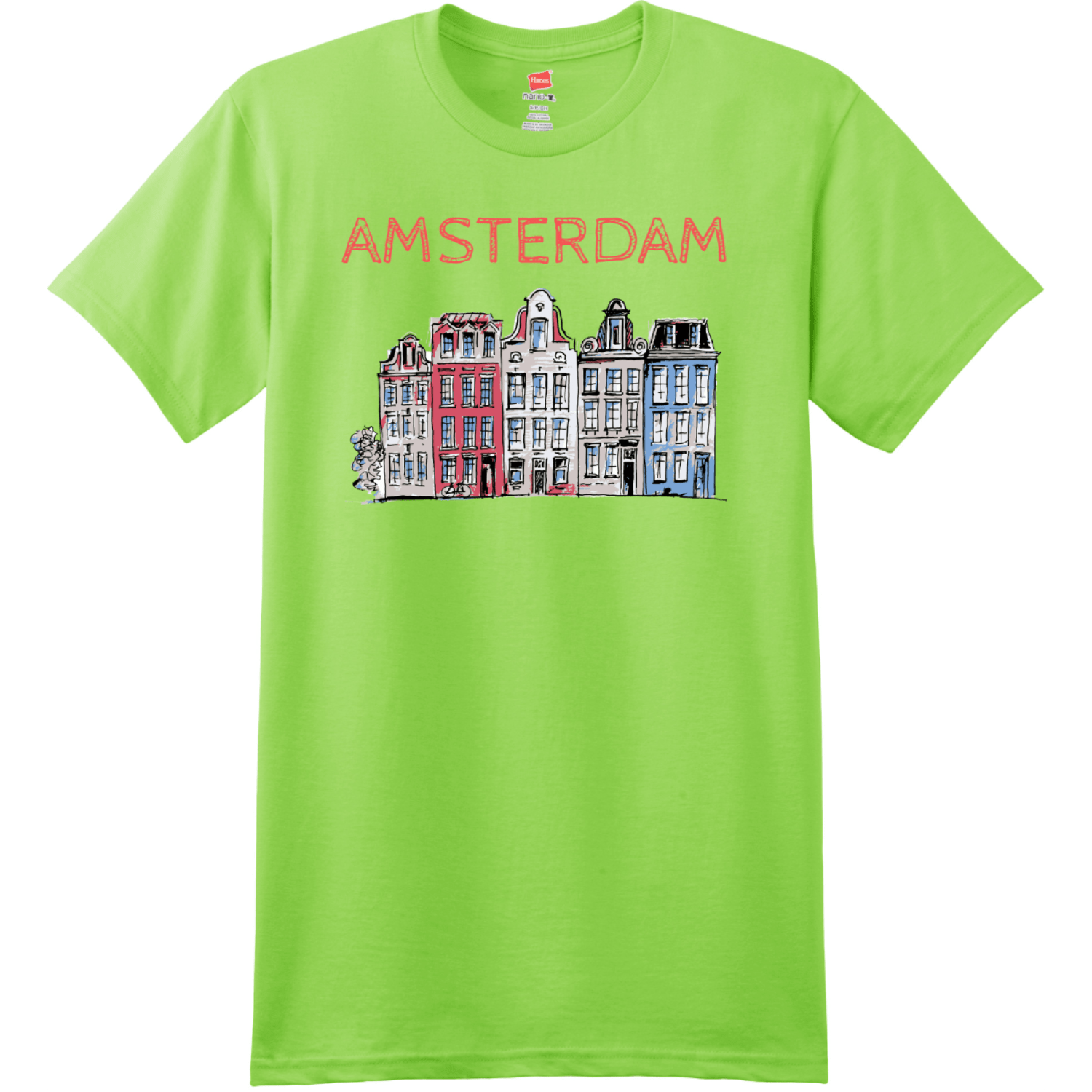 Amsterdam Holland Leaning Houses T Shirt Lime Hanes Nano 4980 Ringspun Cotton T Shirt
