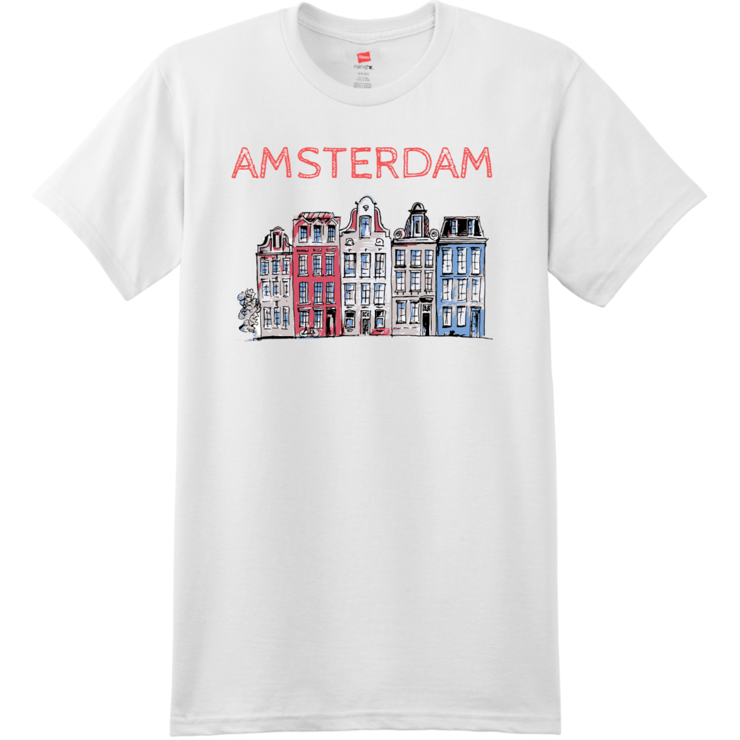 Amsterdam Holland Leaning Houses T Shirt White Hanes Nano 4980 Ringspun Cotton T Shirt