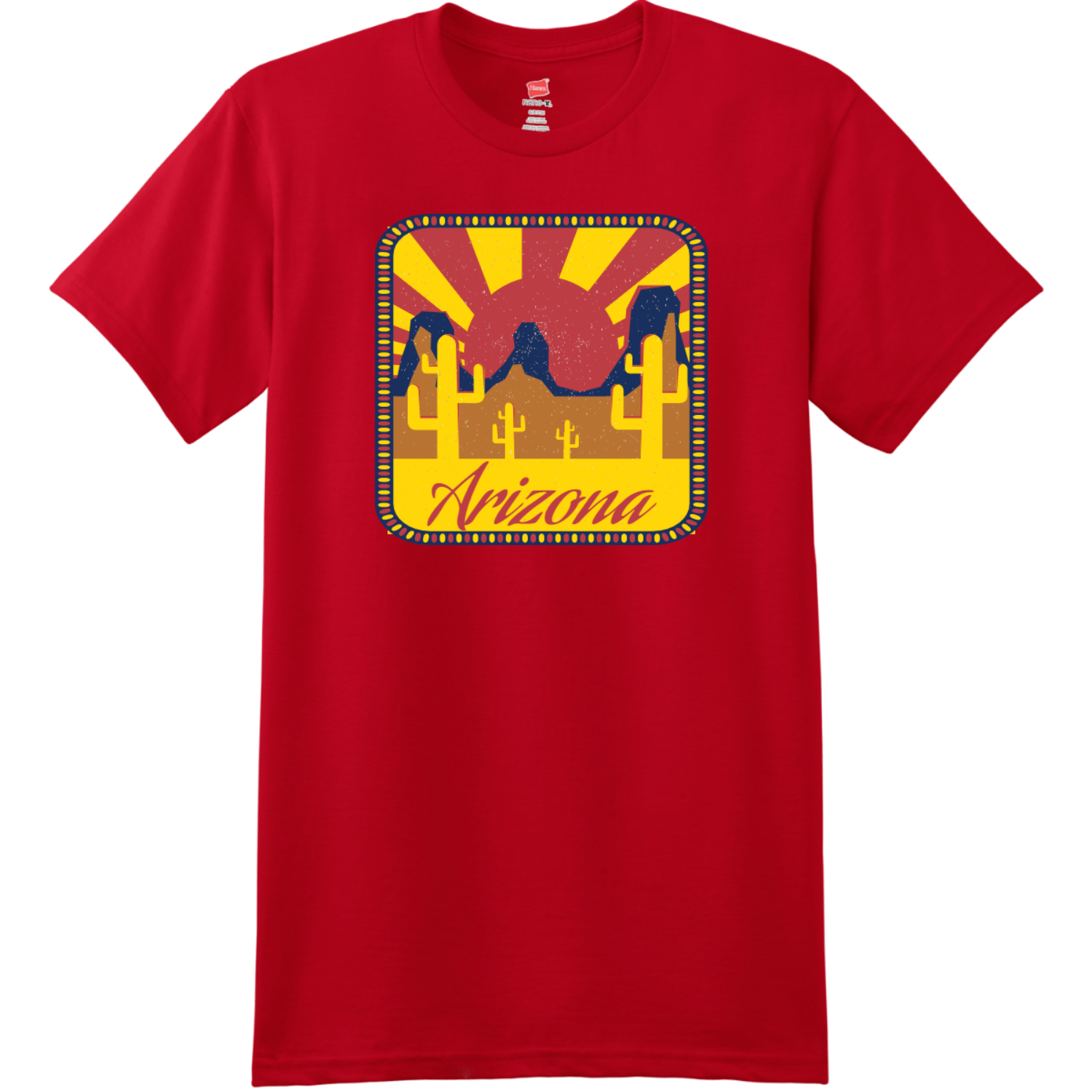 Arizona Desert Sun T-Shirt Deep Red Hanes Nano 4980 Ringspun Cotton T Shirt