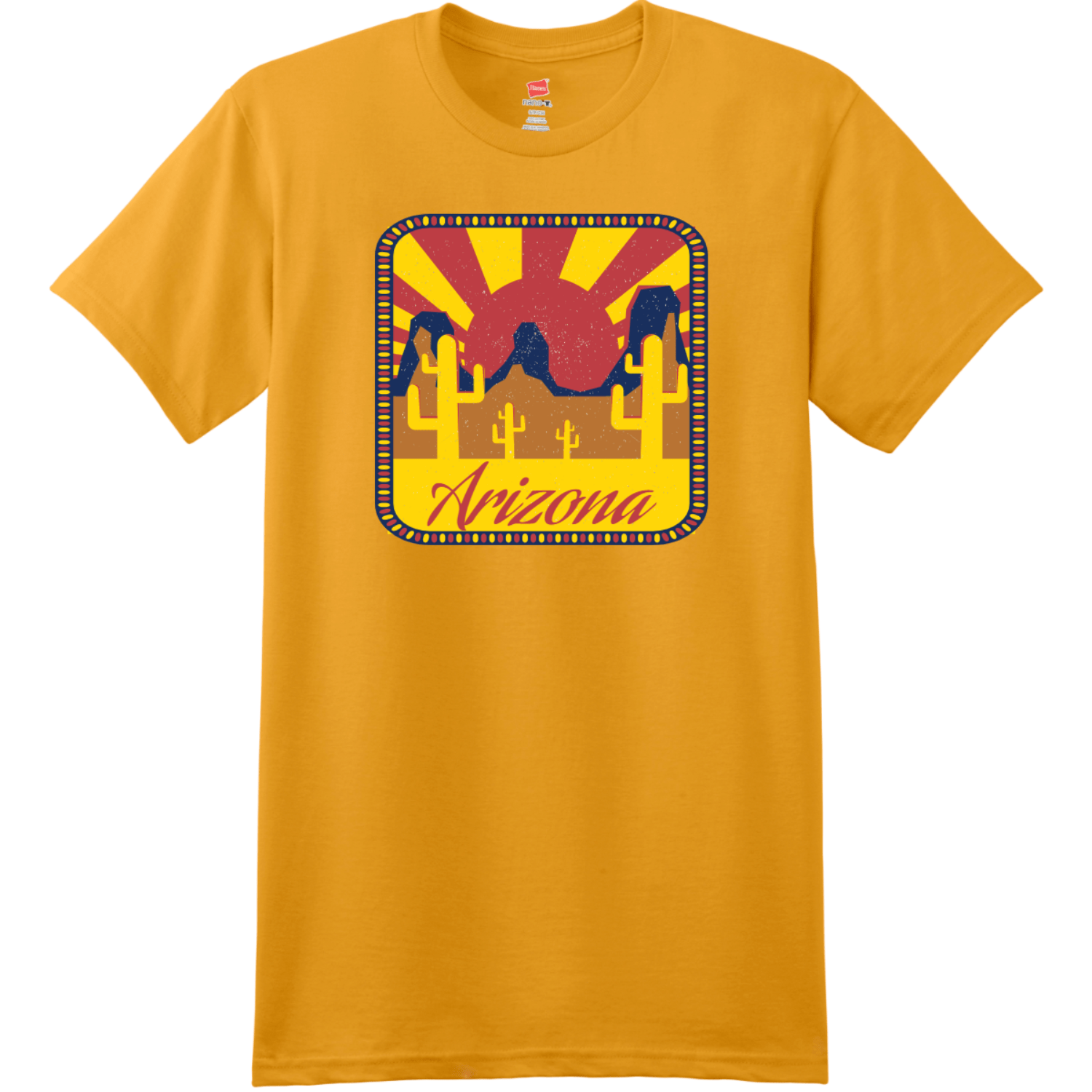 Arizona Desert Sun T-Shirt Gold Hanes Nano 4980 Ringspun Cotton T Shirt