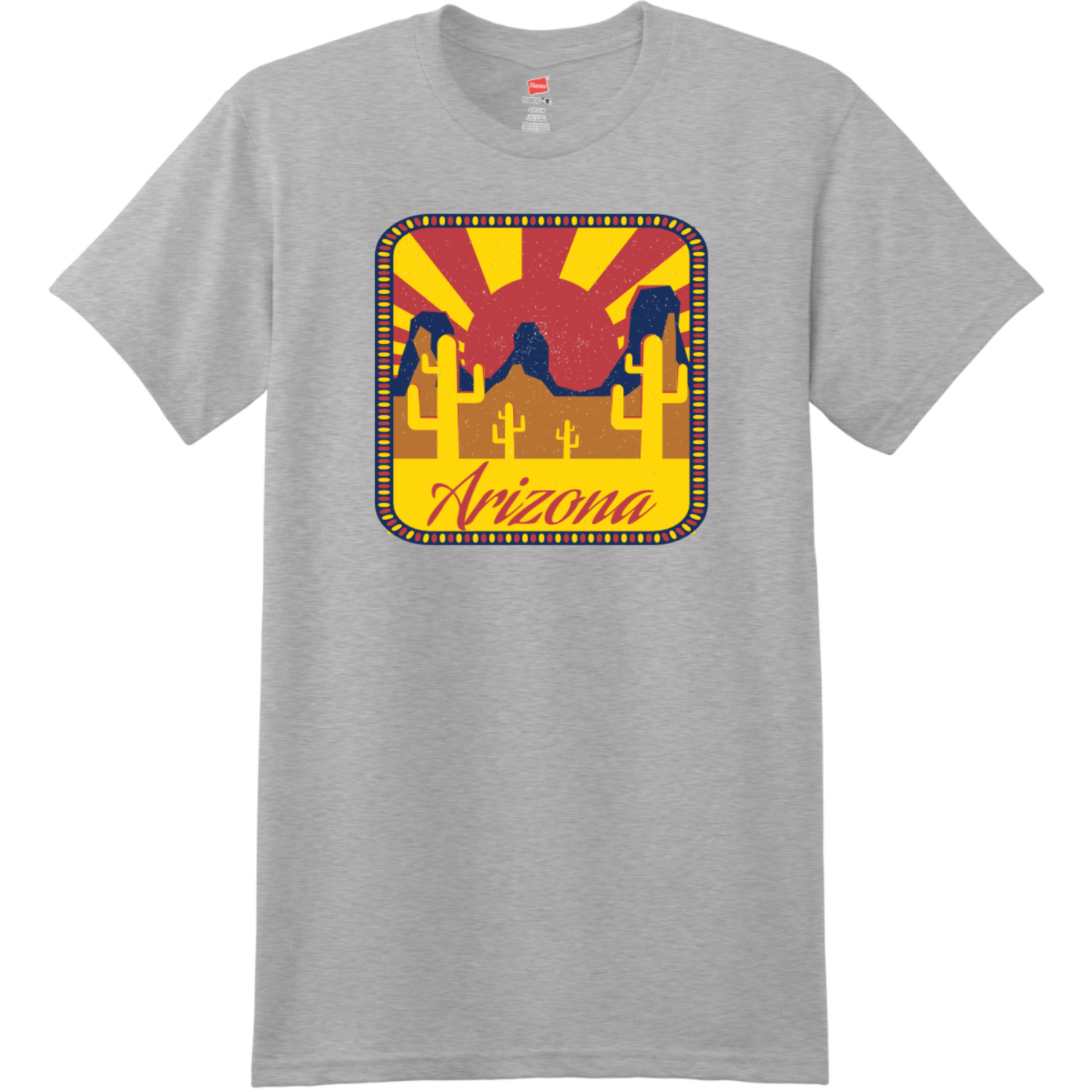 Arizona Desert Sun T-Shirt Light Steel Hanes Nano 4980 Ringspun Cotton T Shirt