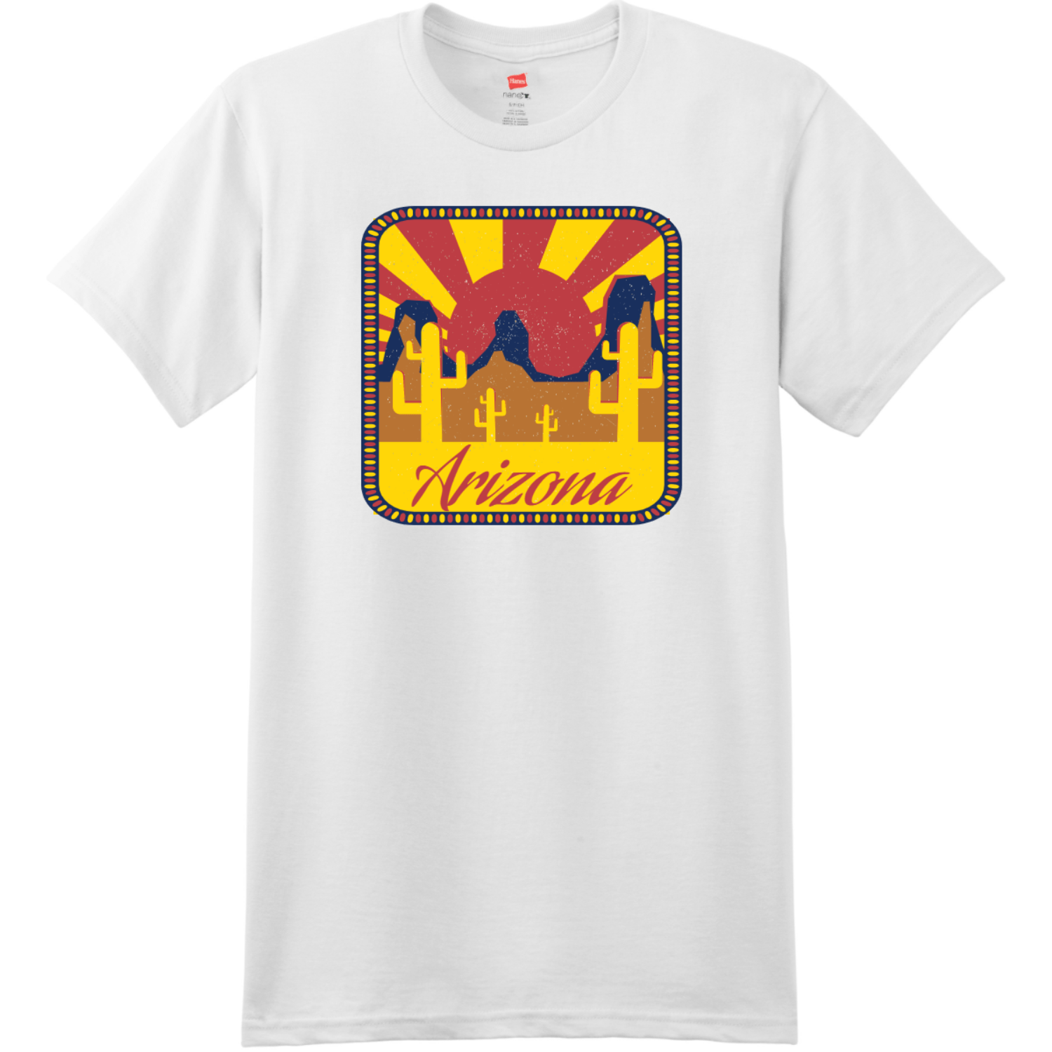 Arizona Desert Sun T-Shirt White Hanes Nano 4980 Ringspun Cotton T Shirt