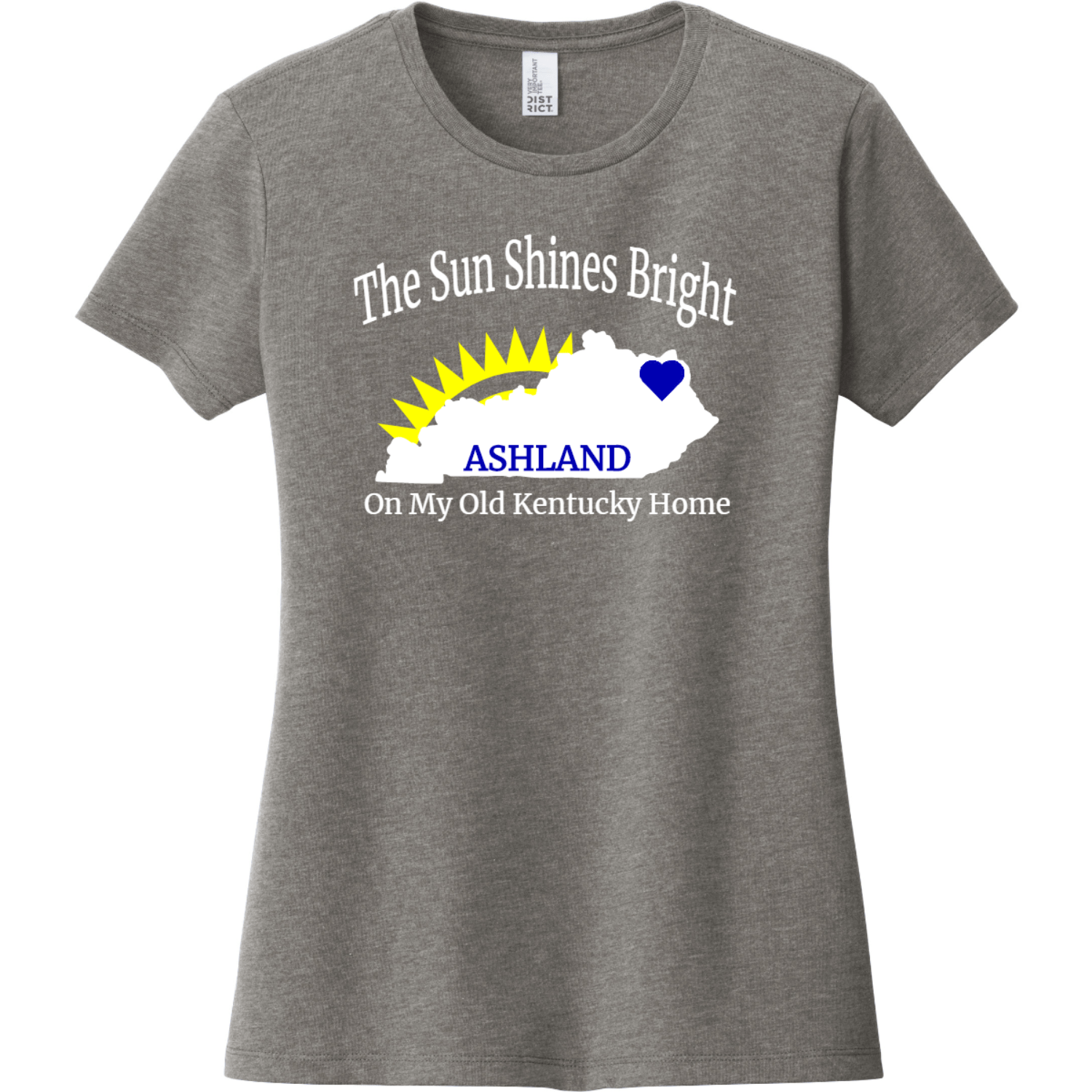 Ashland Kentucky The Sun Shines Bright Ladies T Shirt Gray Frost District Women's Very Important Tee DT6002