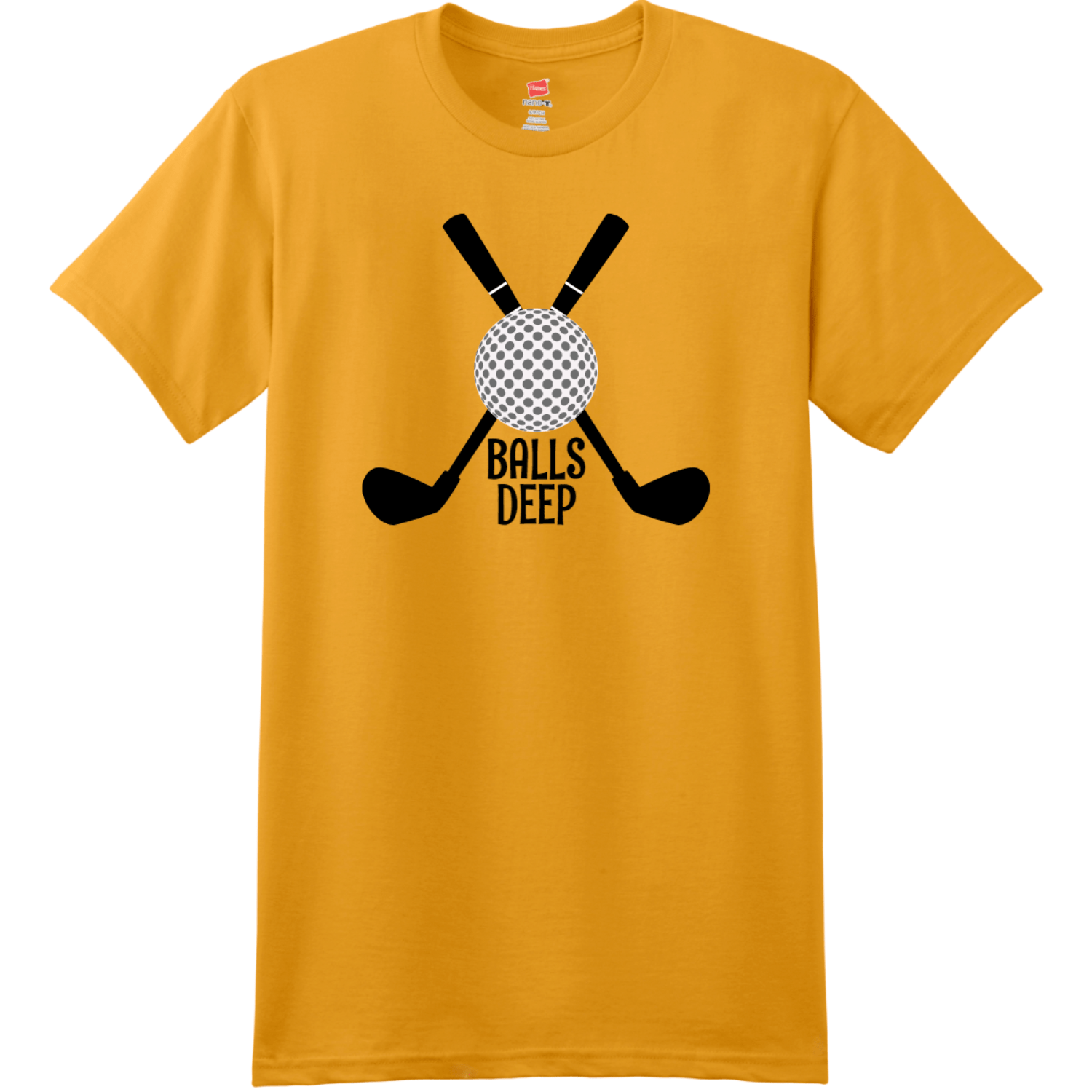 Balls Deep Funny Golf T Shirt Gold Hanes Nano 4980 Ringspun Cotton T Shirt