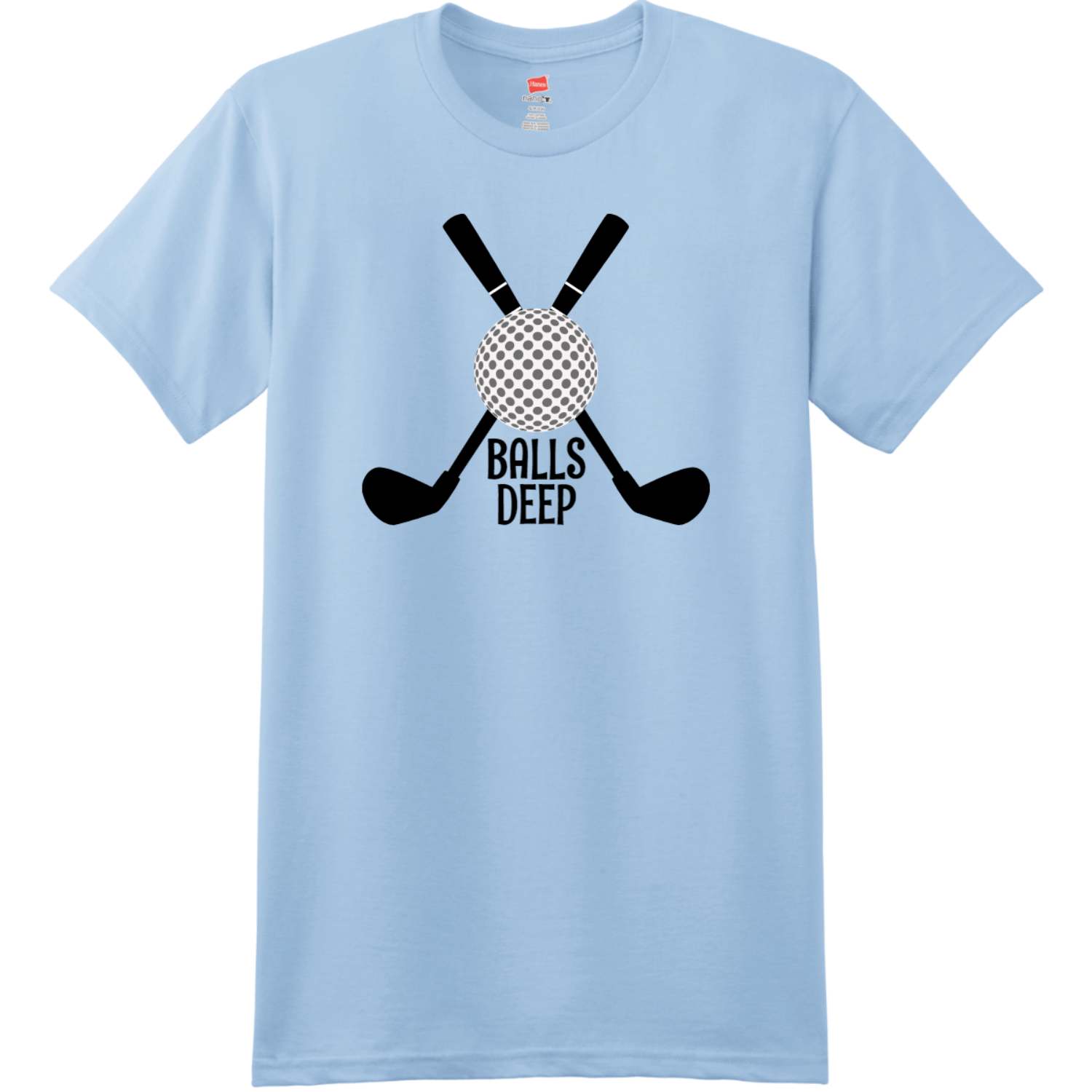 Balls Deep Funny Golf T Shirt Light Blue Hanes Nano 4980 Ringspun Cotton T Shirt