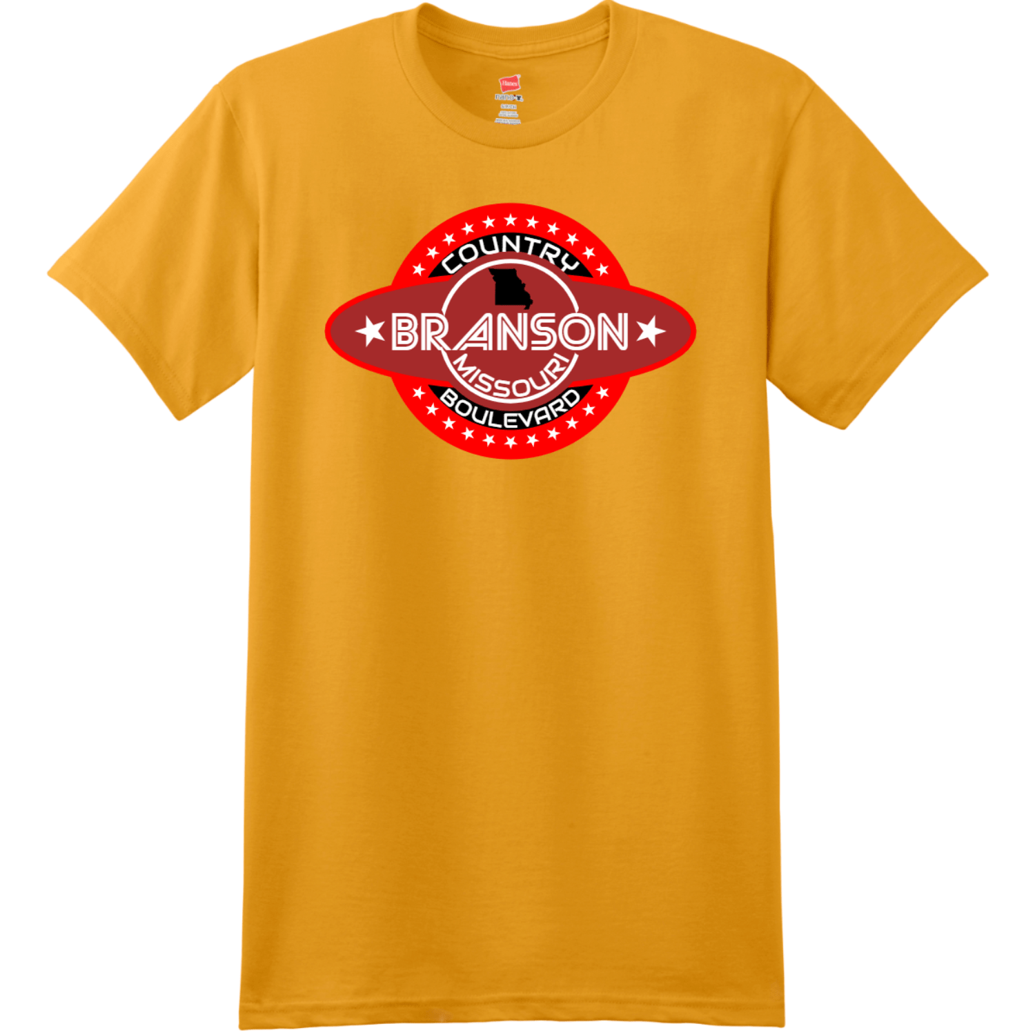 Branson Missouri Country Boulevard T Shirt Gold Hanes Nano 4980 Ringspun Cotton T Shirt