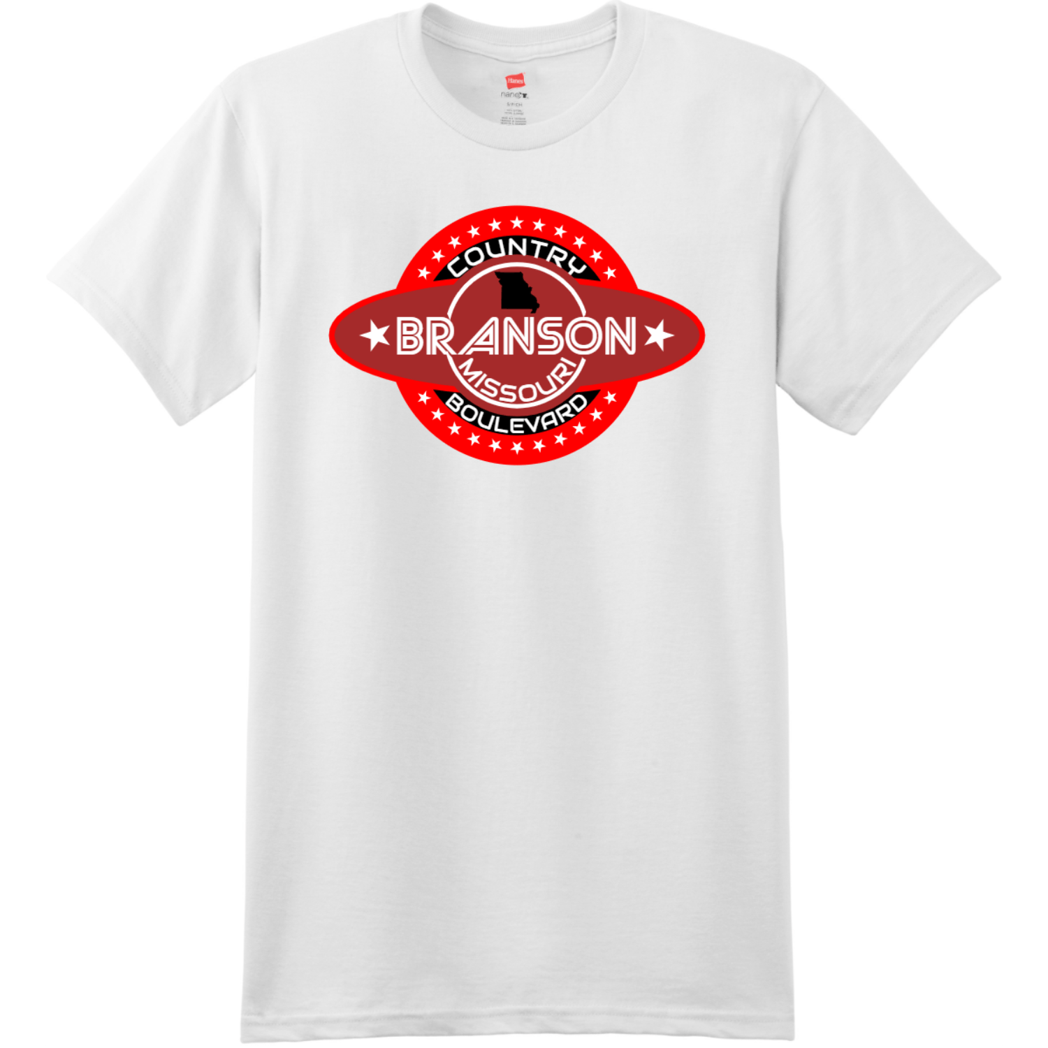 Branson Missouri Country Boulevard T Shirt White Hanes Nano 4980 Ringspun Cotton T Shirt