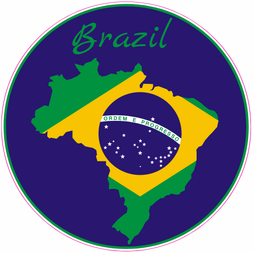 Brazil Flag Circle Sticker | U.S. Custom Stickers