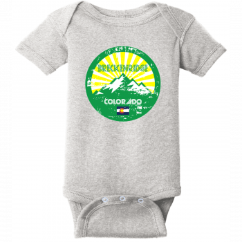 Breckenridge Colorado Mountain Flag Baby Creeper Heather Rabbit Skins Infant Short Sleeve Infant Rib Bodysuit RS4400
