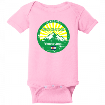 Breckenridge Colorado Mountain Flag Baby Creeper Pink Rabbit Skins Infant Short Sleeve Infant Rib Bodysuit RS4400