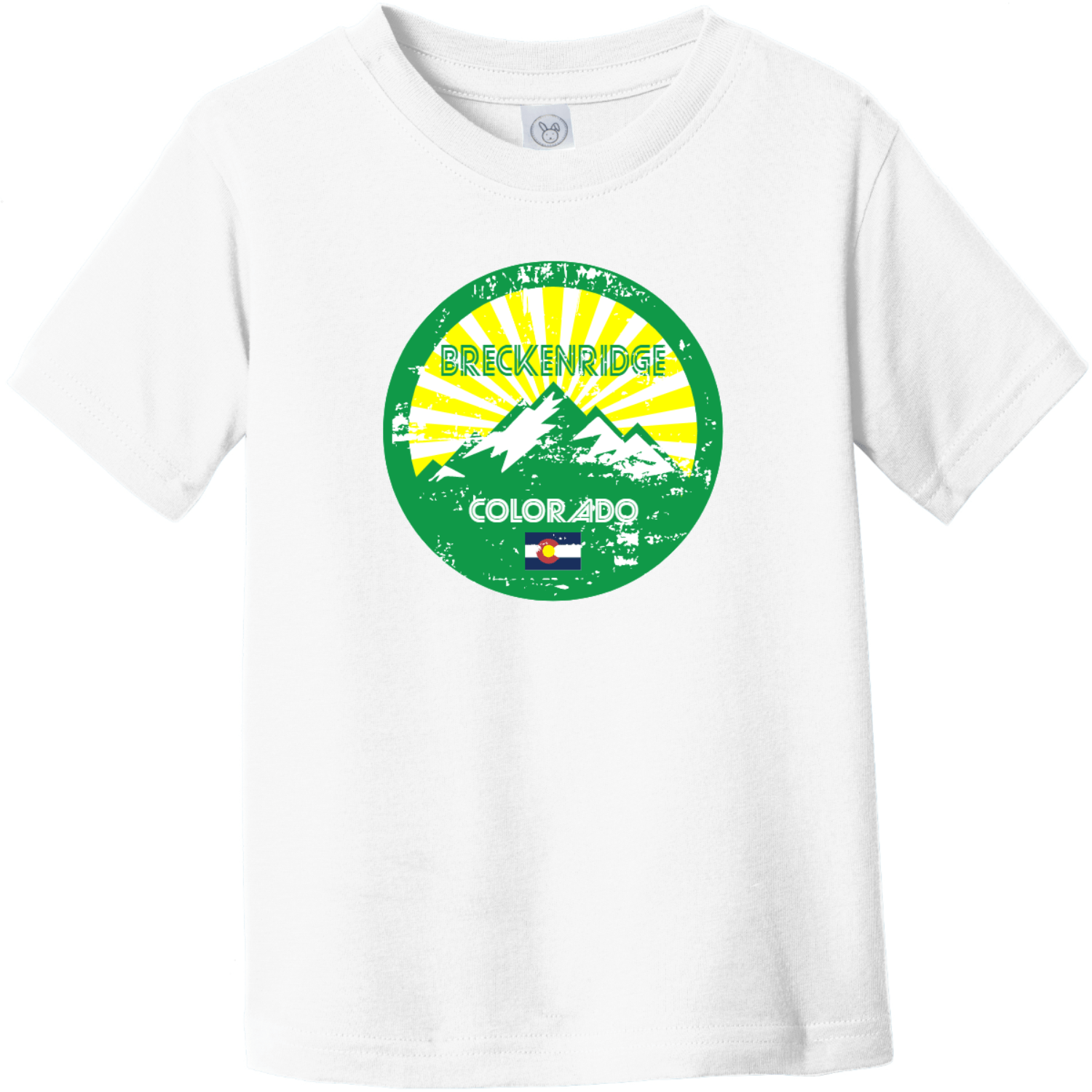 Breckenridge Colorado Mountain Flag Toddler T-Shirt White Rabbit Skins Toddler Fine Jersey Tee RS3321