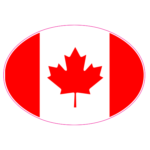 Canadian Flag Oval Sticker | U.S. Custom Stickers