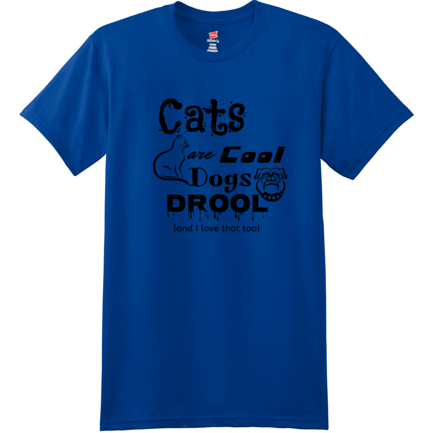 Cats Are Cool Dogs Drool T Shirt Deep Royal Hanes Nano 4980 Ringspun Cotton T Shirt