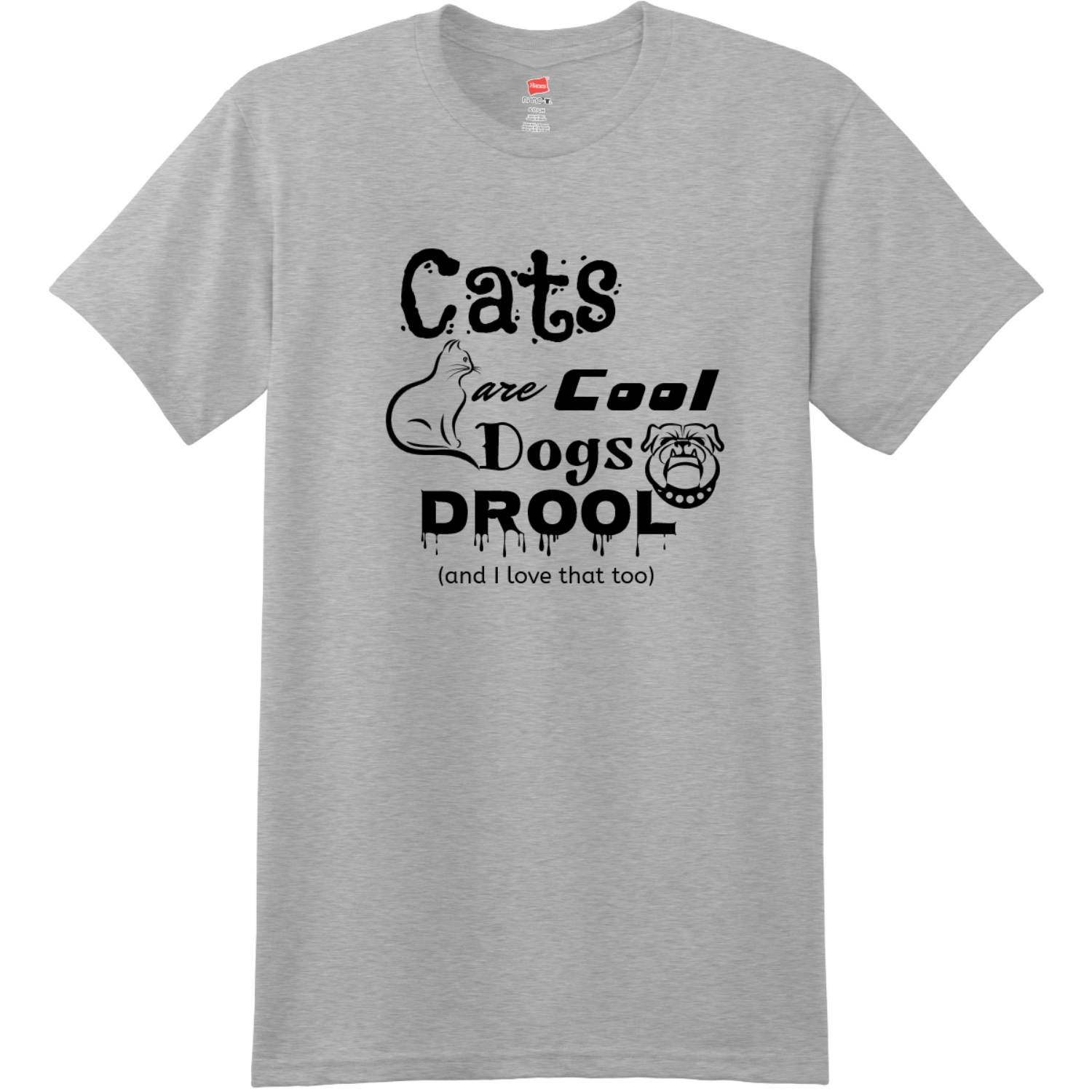Cats Are Cool Dogs Drool T Shirt Light Steel Hanes Nano 4980 Ringspun Cotton T Shirt