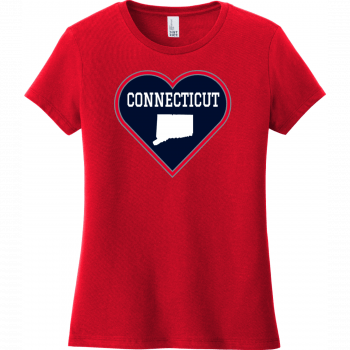 Connecticut Heart State T Shirt Classic Red District Women's Very Important Tee DT6002