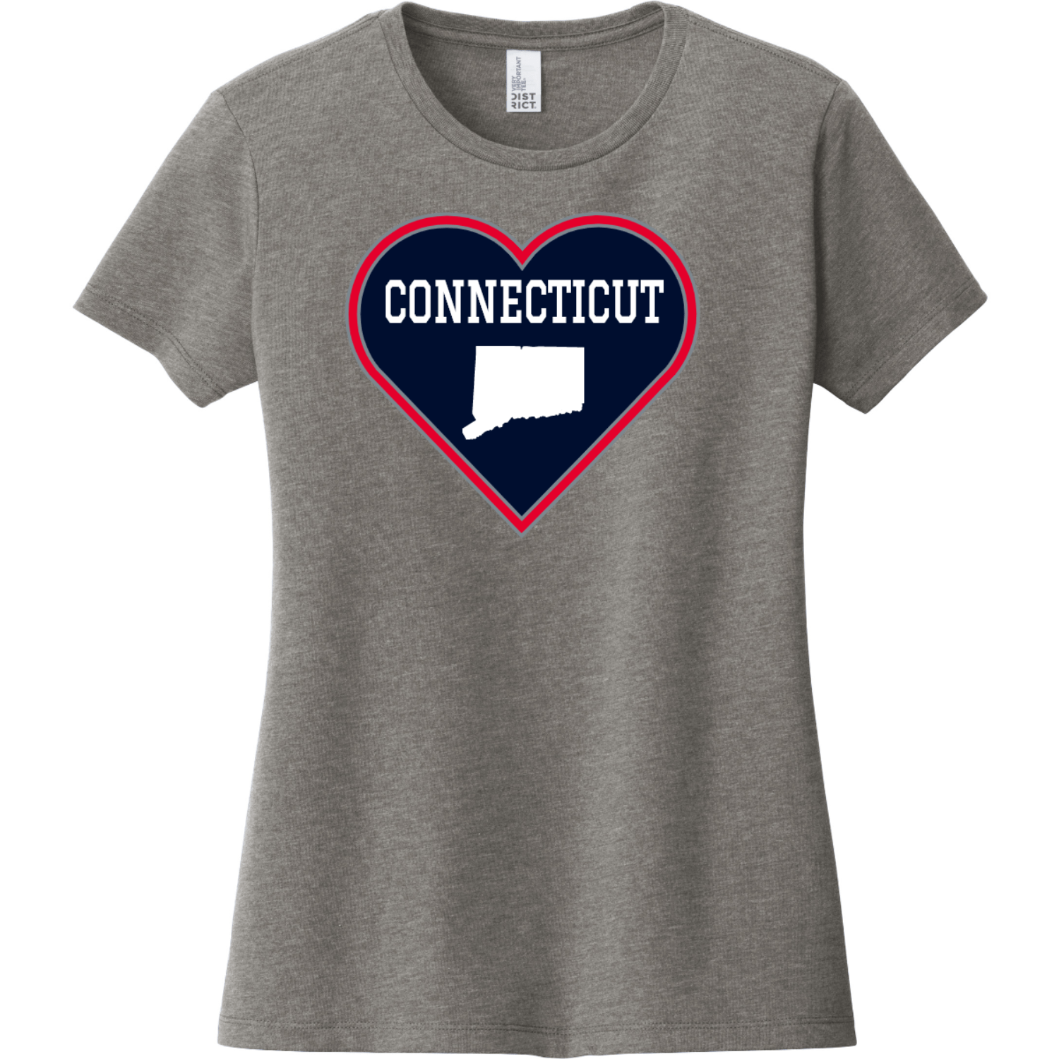 Connecticut Heart State T Shirt Gray Frost District Women's Very Important Tee DT6002