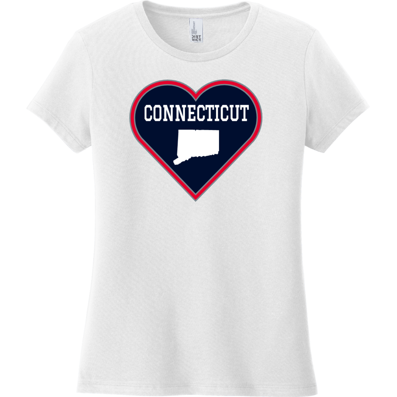 Connecticut Heart State T Shirt White District Women's Very Important Tee DT6002