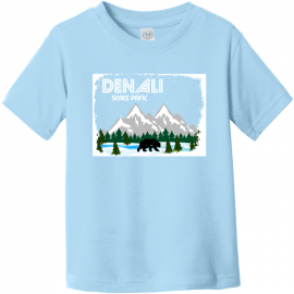 Denali State Park Alaska Toddler T Shirt Light Blue Rabbit Skins Toddler Fine Jersey Tee RS3321