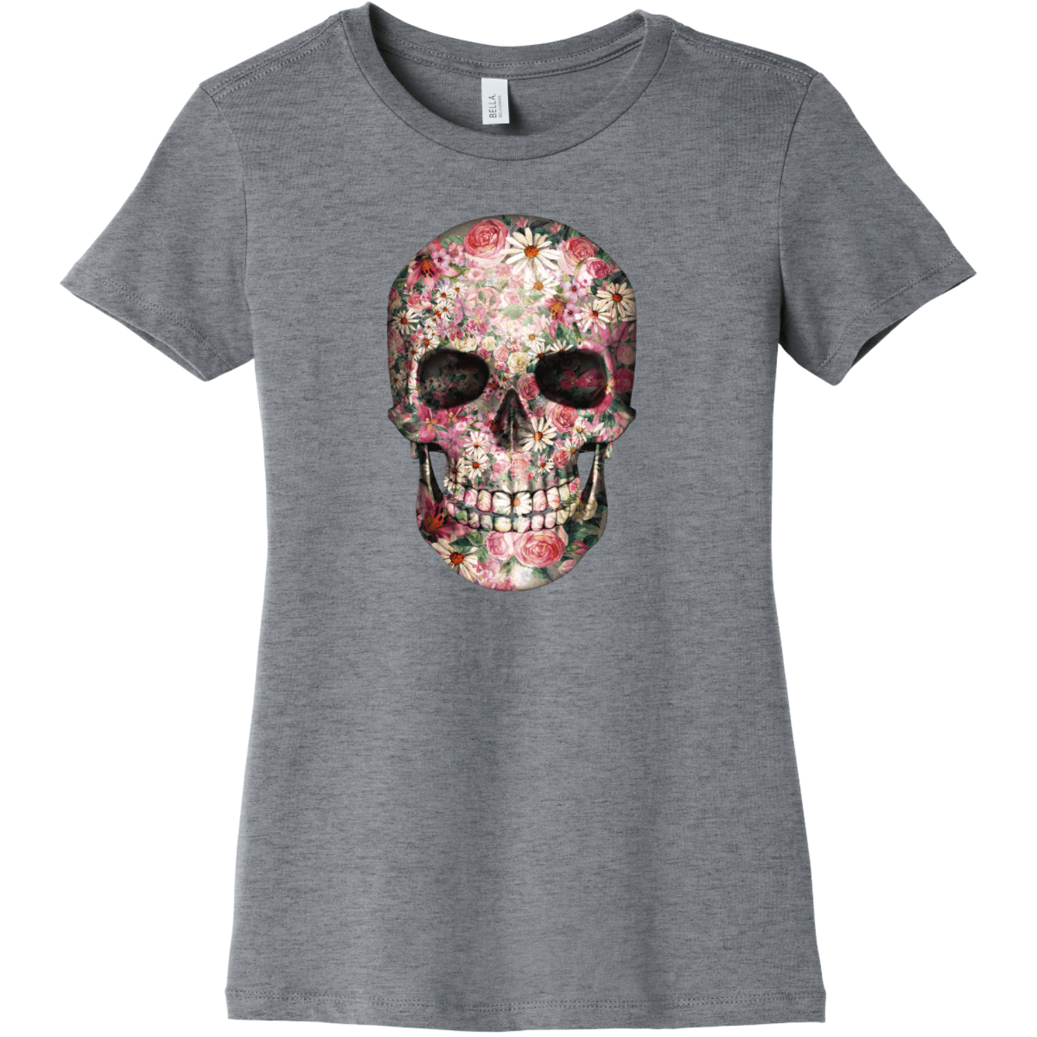 Floral Skull T Shirt For Women Athletic Heather Bella Canvas 6004 Ladies The Favorite Tee
