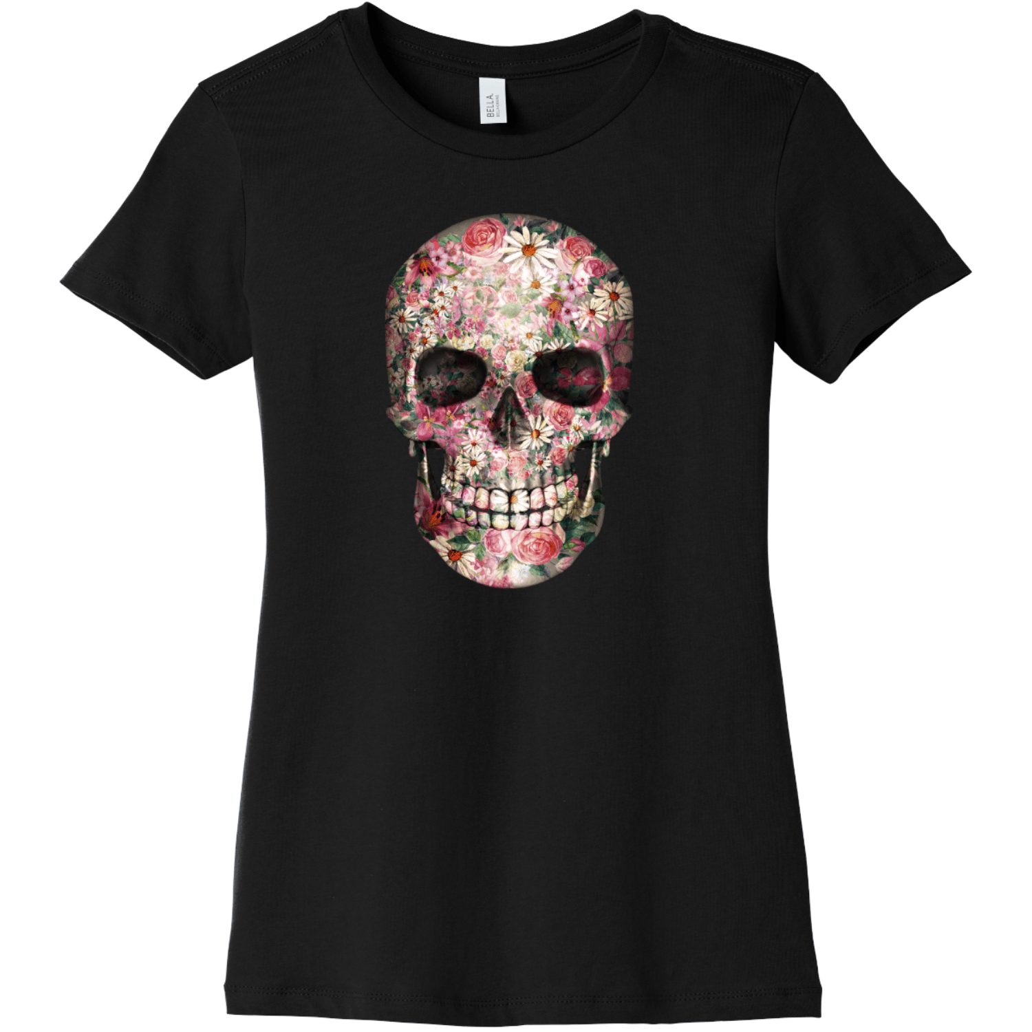 Floral Skull T Shirt For Women Black Bella Canvas 6004 Ladies The Favorite Tee