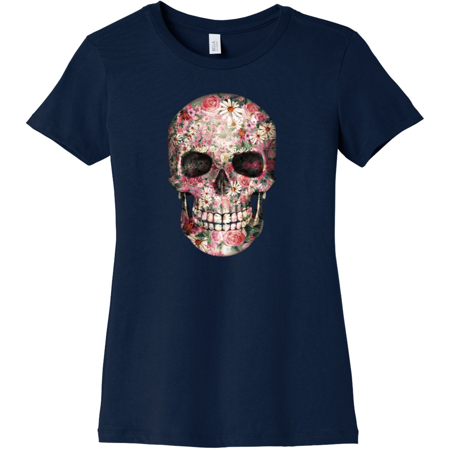 Floral Skull T Shirt For Women Navy Bella Canvas 6004 Ladies The Favorite Tee