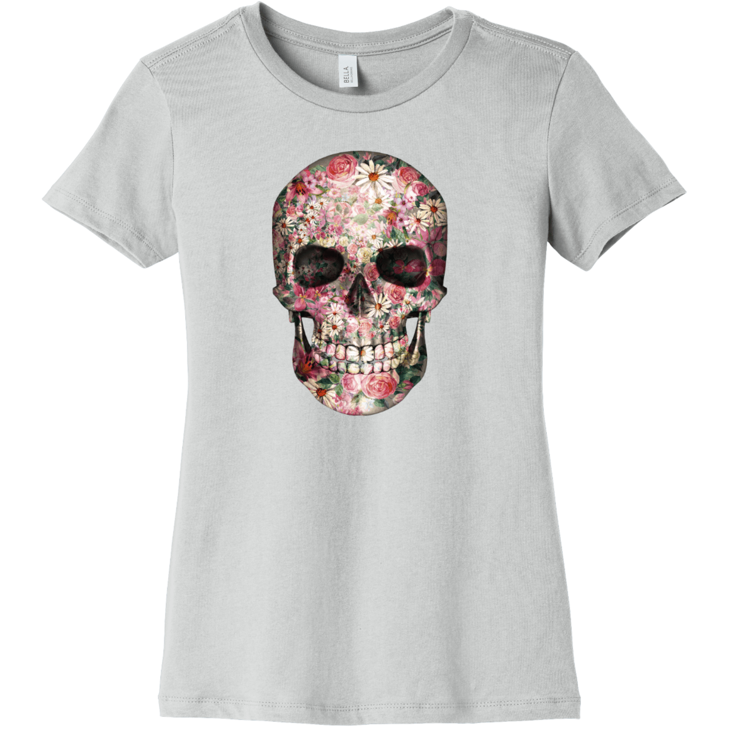 Floral Skull T Shirt For Women Silver Bella Canvas 6004 Ladies The Favorite Tee