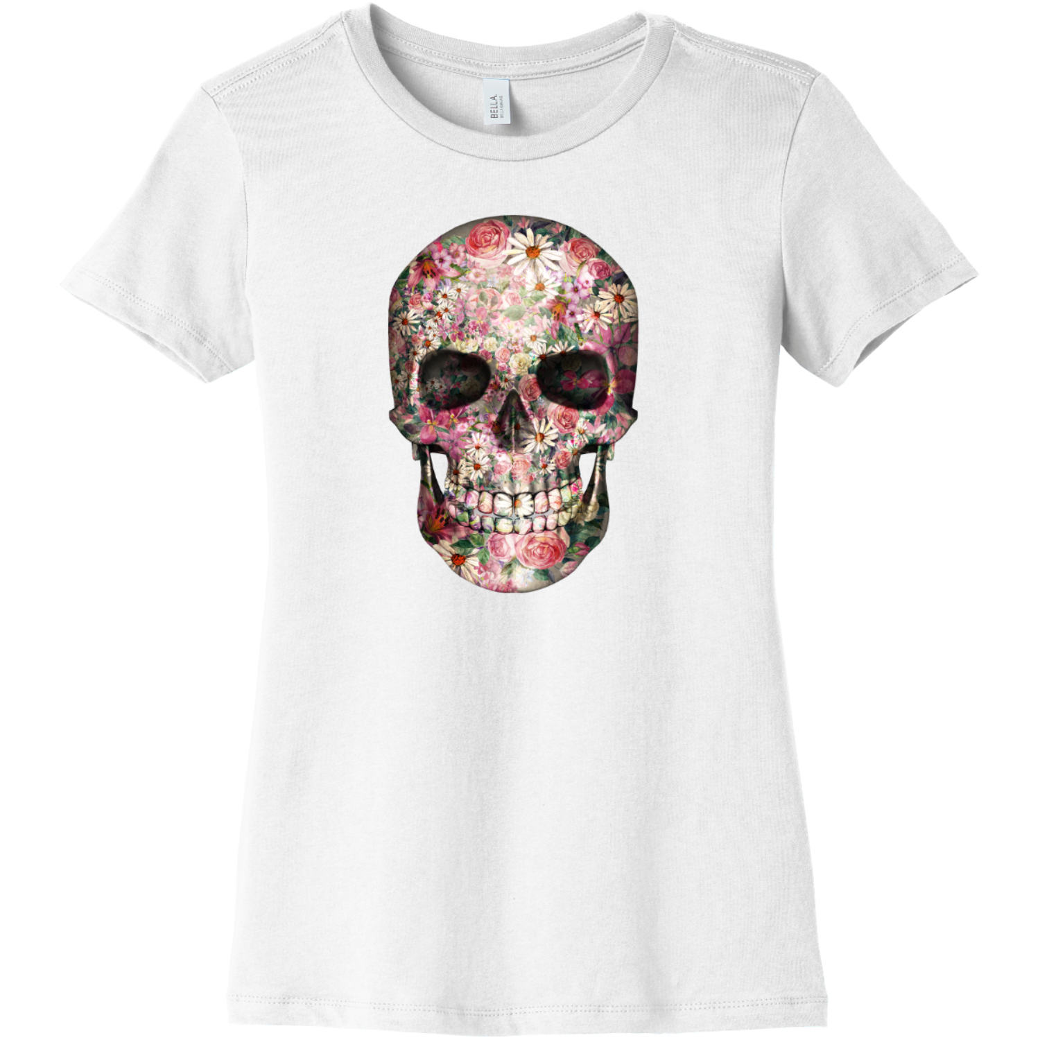 Floral Skull T Shirt For Women White Bella Canvas 6004 Ladies The Favorite Tee