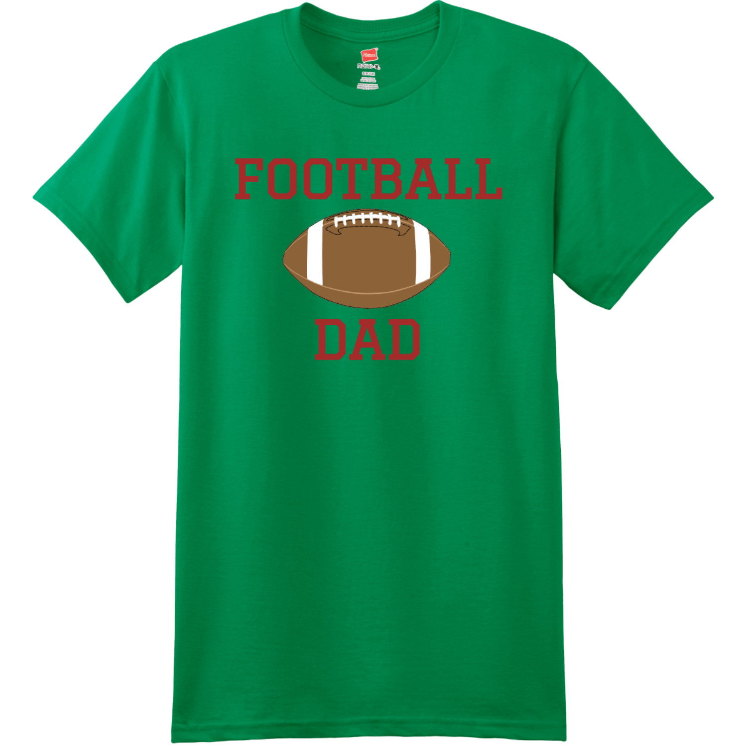 Football Dad T Shirt With Name And Number Kelly Green Hanes Nano 4980 Ringspun Cotton T Shirt