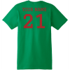 Football Dad T Shirt With Name And Number Kelly Green Hanes Nano 4980 Ringspun Cotton T Shirt Back