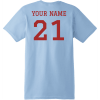 Football Dad T Shirt With Name And Number Light Blue Hanes Nano 4980 Ringspun Cotton T Shirt Back