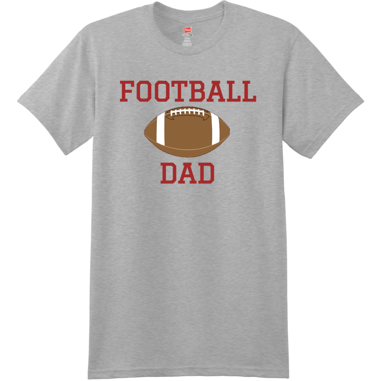 Football Dad T Shirt With Name And Number Light Steel Hanes Nano 4980 Ringspun Cotton T Shirt