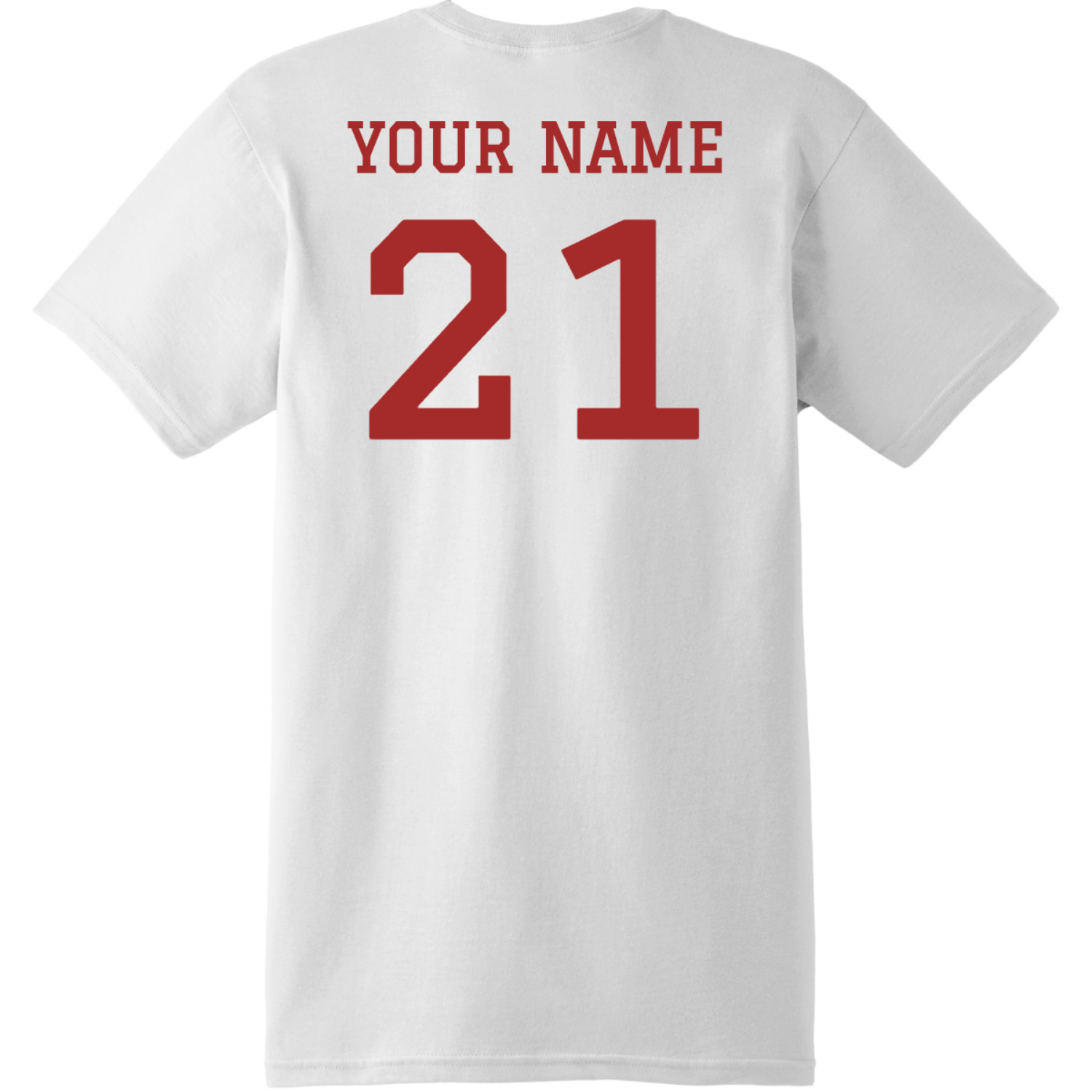 Football Dad T Shirt With Name And Number White Hanes Nano 4980 Ringspun Cotton T Shirt Back
