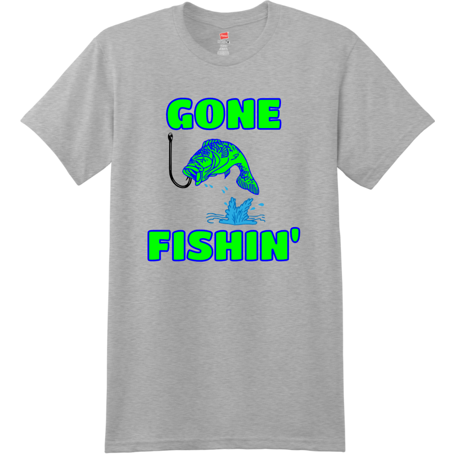 Gone Fishin T Shirt Light Steel Hanes Nano 4980 Ringspun Cotton T Shirt