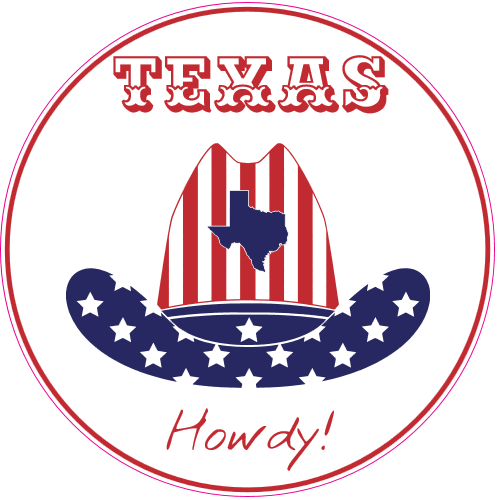 Howdy From Texas Circle Decal | U.S. Custom Stickers