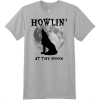 Howlin At The Moon Wolf T Shirt Light Steel Hanes Nano 4980 Ringspun Cotton T Shirt
