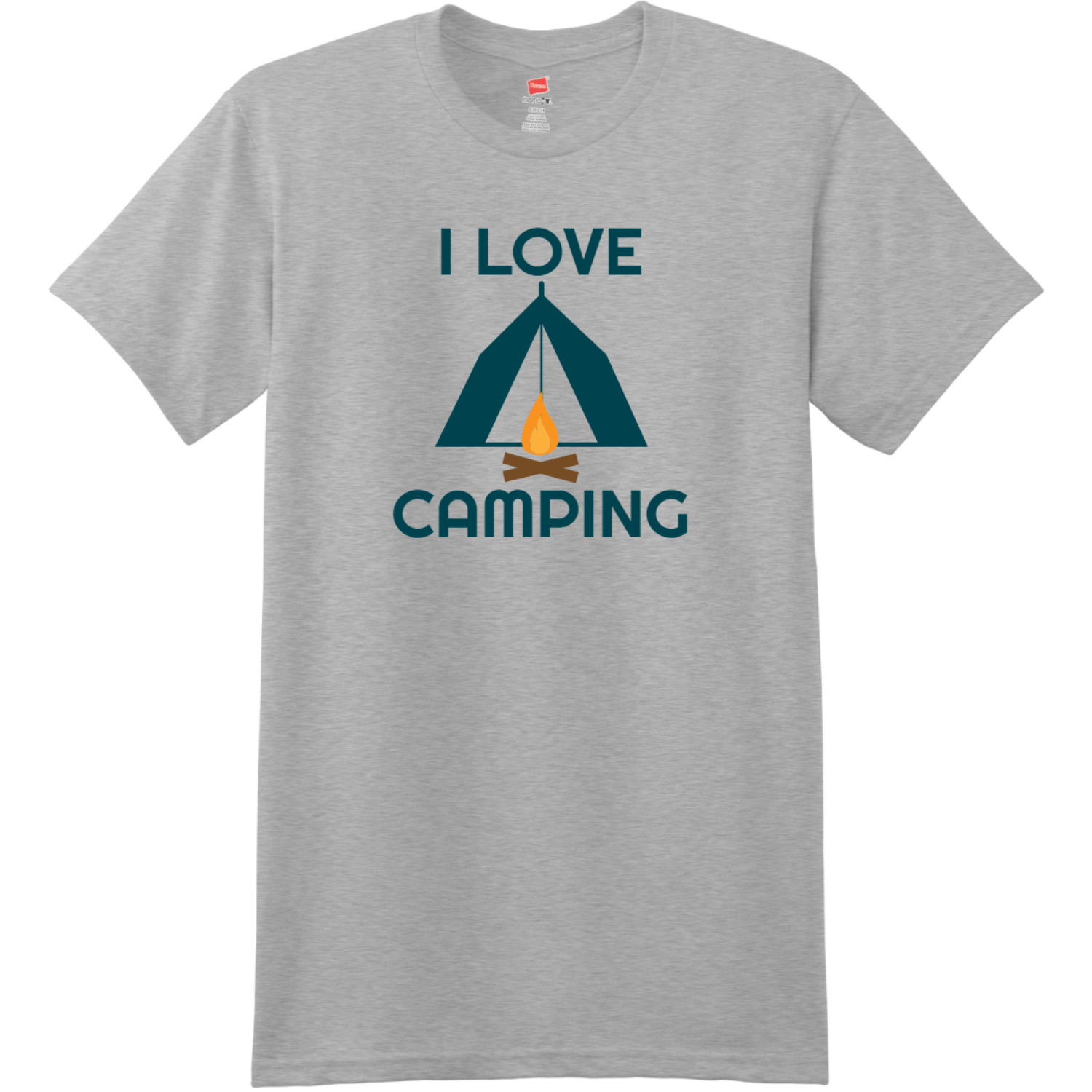 I Love Camping T Shirt Light Steel Hanes Nano 4980 Ringspun Cotton T Shirt