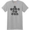 I Love My Dog Paw Print T Shirt Light Steel Hanes Nano 4980 Ringspun Cotton T Shirt