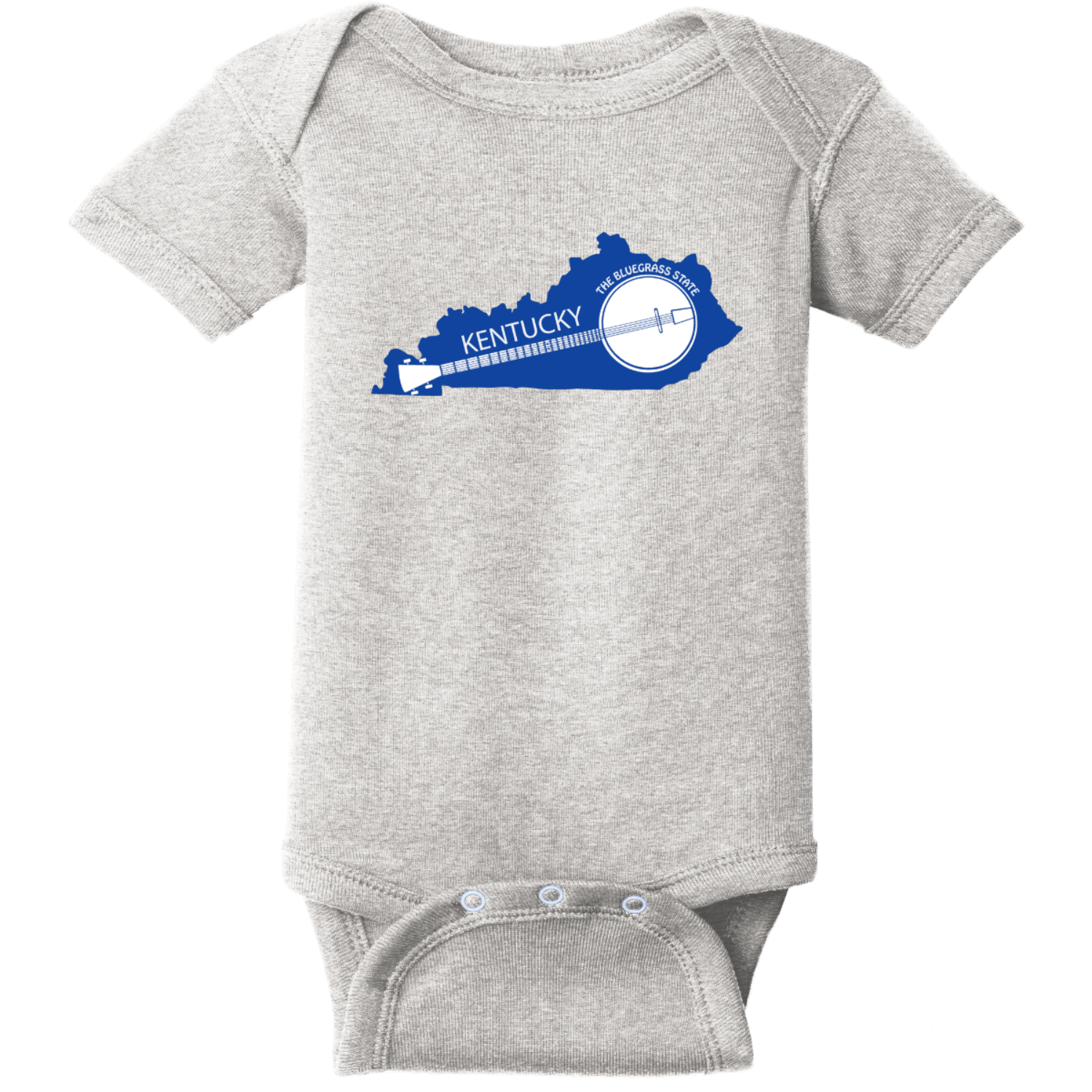 Kentucky State Shaped Banjo Infant Bodysuit Heather Rabbit Skins Infant Short Sleeve Infant Rib Bodysuit RS4400