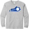 Kentucky State Shaped Banjo Long Sleeve T Shirt Sport Gray Gildan Hammer Long Sleeve T Shirt