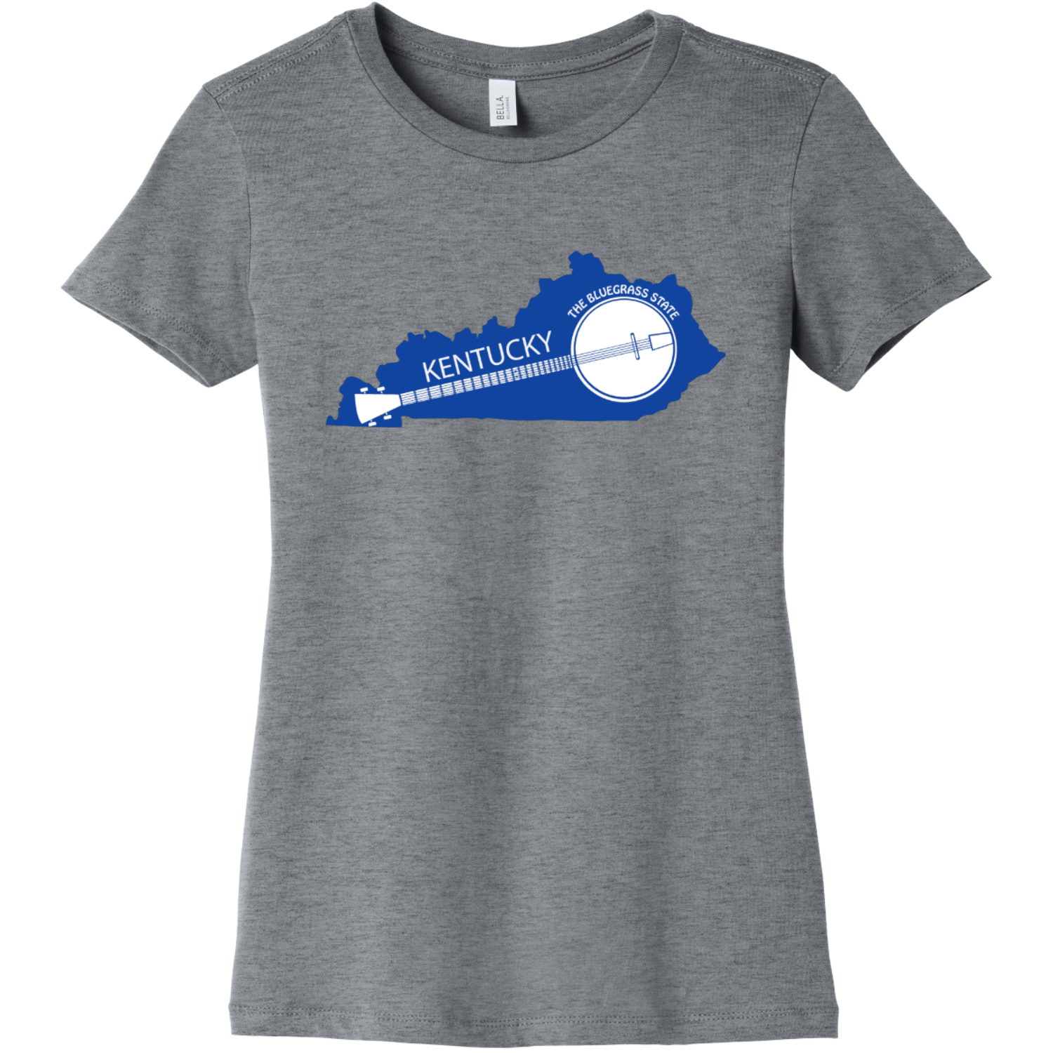 Kentucky State Shaped Banjo Women's T Shirt Athletic Heather Bella Canvas 6004 Ladies The Favorite Tee