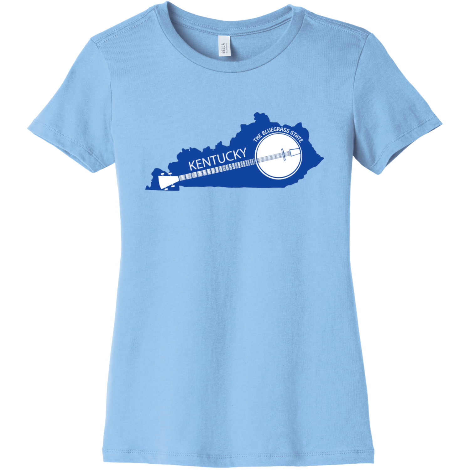Kentucky State Shaped Banjo Women's T Shirt Baby Blue Bella Canvas 6004 Ladies The Favorite Tee
