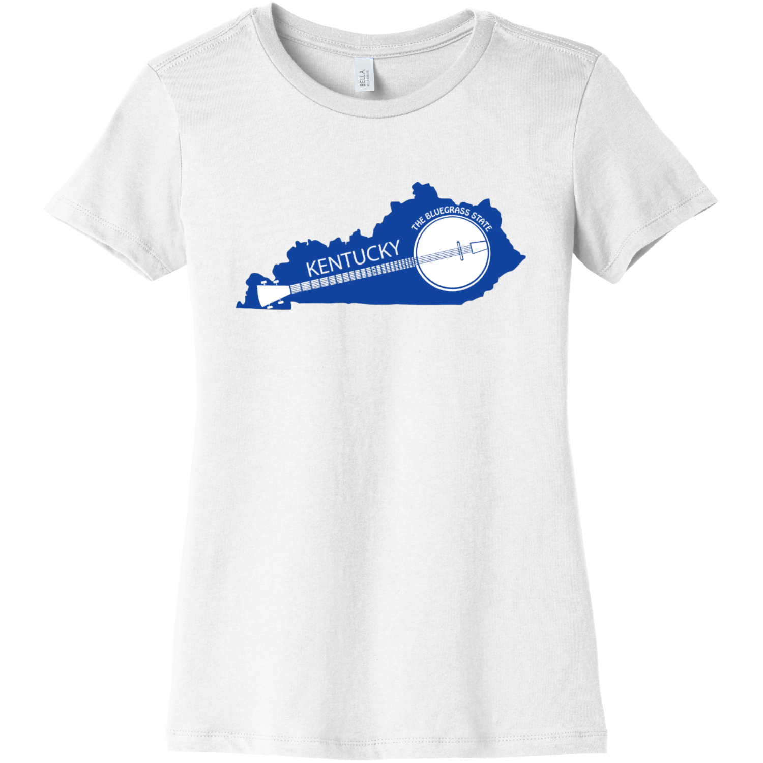 Kentucky State Shaped Banjo Women's T Shirt White Bella Canvas 6004 Ladies The Favorite Tee