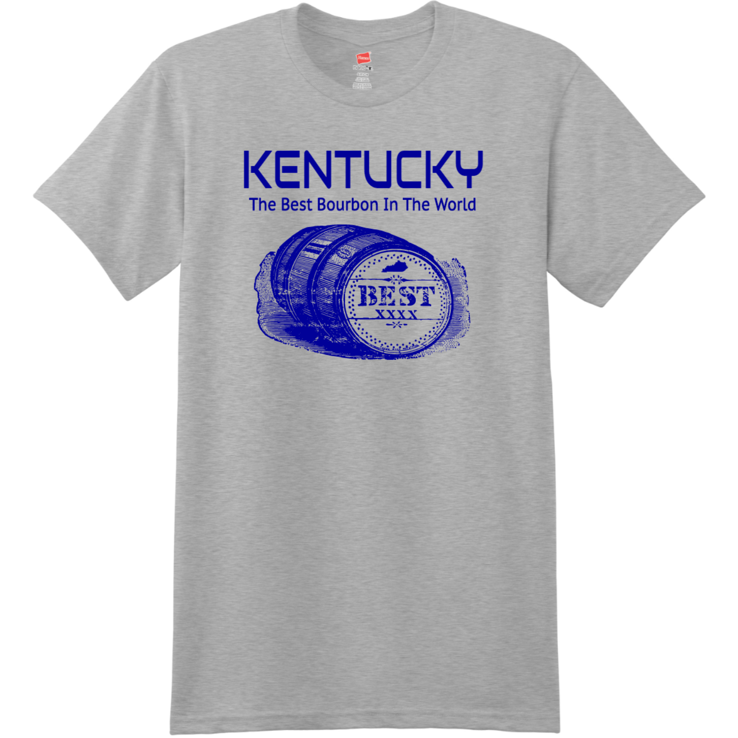 Kentucky The Best Bourbon In The World T-Shirt Light Steel Hanes Nano 4980 Ringspun Cotton T Shirt