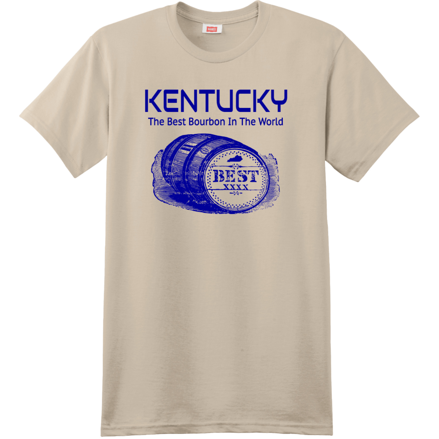 Kentucky The Best Bourbon In The World T-Shirt Sand Hanes Nano 4980 Ringspun Cotton T Shirt